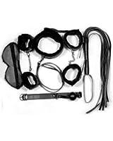 SODIAL(R) SET 6 en 1 BONDAGE masque collier menottes fouet noir epai SM plume