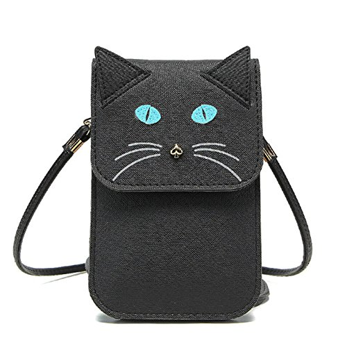 Universal Multipurpose Cute 3D Black Cat Design Synthetic Leather Wallet Crossbody Cell Phone Bag Mini Pouch for iPhone 6/6S,6Plus/6S Plus,Note 5,Note 4,Galaxy S7,S7 Edge (Samsung S3 Mini Case Cat compare prices)