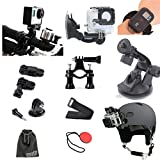 EEEKit 8-in-1 for GoPro HERO4 SILVER BLACK GoPro Hero HD 3+/3/2/1 Camera, Windshield Suction Cup Mount Holder + Bike Handlebar Holder + 3-Way Adjustable Pivot Arm + Nylon Wrist Strap for Wireless Romote Control(not included) + Adhesive Achors Sticker + Tr