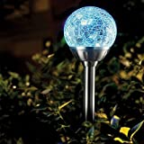 8 x Stainless Steel Colour Changing Solar Crackle Ball Light Ice Orb Globe
