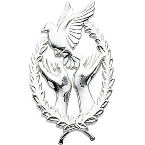 14K White Gold Wings of Remembrance Lapel Pin - 29.25x17.75mm