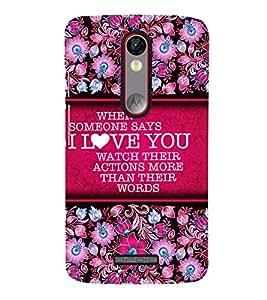Love Message Cute Fashion 3D Hard Polycarbonate Designer Back Case Cover for Motorola Moto X Play