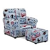 Kidzworld Kids Children All Sports - American Blue Club Chair and Ottoman Set