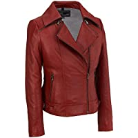 Wilsons Leather Zipper Collar Asymmetric Leather Cycle Womens Jacket (Red)