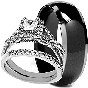 3 Pieces Men's and Women's, His & Hers, 925 Genuine Sterling Silver & Black Titanium Band Engagement Matching Wedding Ring Set