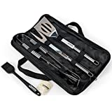 Supreme Products Stainless Steel Grilling Set - Features a Spatula, Tongs and Fork - Perfect for the Grill, BBQ or in the Kitchen - Craft Gorgeous, Delicious Barbecue Every Time - FDA Food Grade Safe - BONUS: Silicone Basting Brush and Black Storage Case