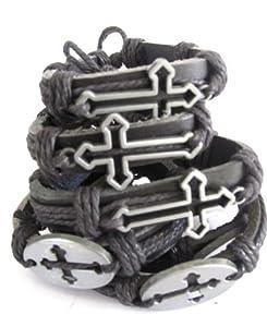Unisex Surfer Ethnic Tribal Bracelet Leather Wristband - Metal Cross, 12 Pieces