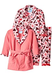 Baby Bunz Baby Girls' 3 Piece Hugs and Kisses Robe and Pajama Set