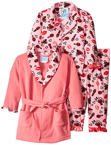 Baby Bunz Baby Girls' 3 Piece Hugs and Kisses Robe and Pajama Set, Pink, 24 Months