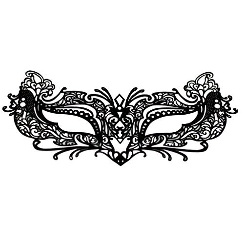 [EMILYSTORES Self-Adhesive Flower For Woman Girl Garden Tattoo Black Lace Paper Lashes Upper and Lower Costume Party Halloween Black Venetian Pretty Masquerade Mask 1PC by] (Masquerade Mask Tattoo)