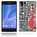 Sony Xperia Z2 Case - White, Black & Red Hard Plastic (PC) Cover with Guitar Motif Design