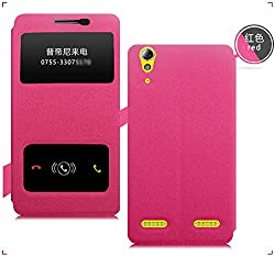 Original Pudini® Pink colour Double window Flip Case For Lenovo A6000 with free screen guard