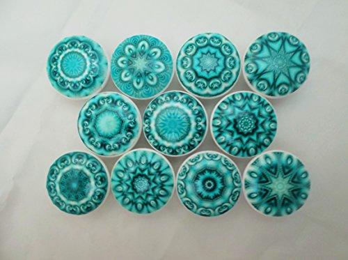 Set of 10 Aqua Blue Mandala Cabinet Knobs (Aqua Blue Knobs compare prices)