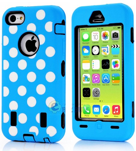 Mylife (Tm) Black + Sky Blue Polka Dotted Style 3 Layer (Hybrid Flex Gel) Grip Case For New Apple Iphone 5C Touch Phone (External 2 Piece Full Body Defender Armor Rubberized Shell + Internal Gel Fit Silicone Flex Protector + Lifetime Waranty + Sealed Insi