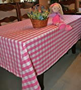 Pink Block Check Tablecloth, 54 x 90