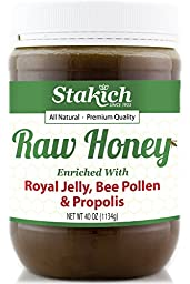 Stakich ROYAL JELLY BEE POLLEN PROPOLIS Enriched RAW HONEY 40-OZ - 100% Pure, Unprocessed, Unheated -
