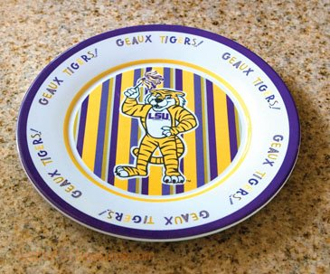 LSU Tigers Reusable Plastic Melamine Dinner Plates by Becky Denny - Set of Four at Amazon.com