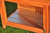nanook Hasenstall Kaninchenstall Kleintierstall Moritz 1 Deluxe - naturfarben - XXL Version - doppelstöckig - 160 x 60 x 113 cm -