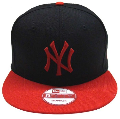New York Yankees Retro New Era Logo Hat Cap Snapback Black Red
