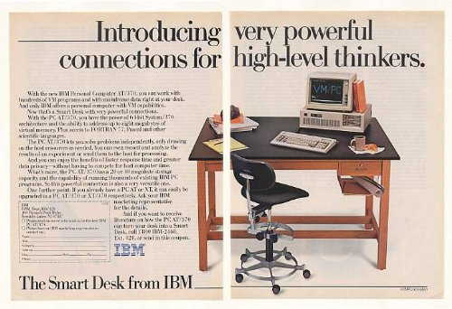 Picture of Comfortable 1985 IBM Personal Computer AT/370 Smart Desk 2-Page Print Ad (B001KP4J9W) (Computer Desks)