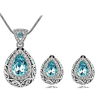 HSG Mothers Day Gifts Elegant Guidance of constellation Austria Crystal Jewellery Sets Pendant Necklace and Studs Earrings