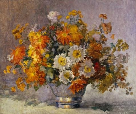 [Oil Painting 'John William Orth,Chrysanthemums,1889-1976' Printing On Polyster Canvas , 16x19 Inch / 41x49 Cm ,the Best Bedroom Artwork And Home Artwork And Gifts Is This Beautiful Art Decorative Prints On] (Clown Around Makeup Kit)