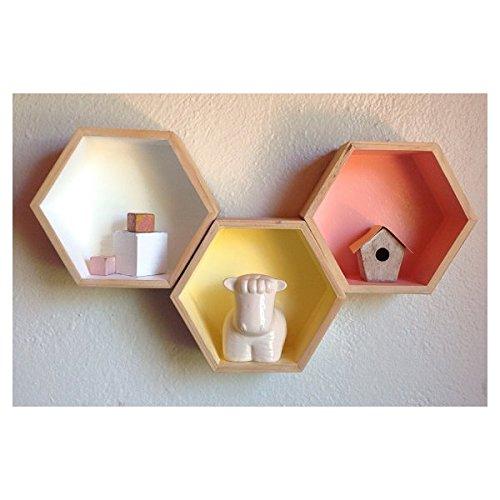 Artemio 3 Wood Shelves - Hexagone