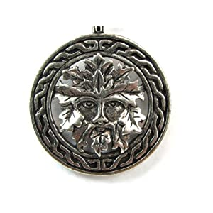 Celtic Green Man for Growth, Pewter Pendant on Adjustable Corded Necklace
