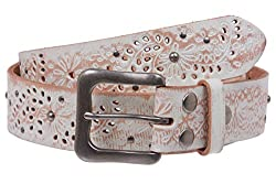 Snap On Embossed Vintage Cowhide Full Grain Leather Floral Rivet Perforated Belt Size: 40 Color: White
