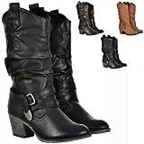 Womens Rocket Dog Sidestep Tall Cowboy Western Boots Brown Black Tan Size 3-8