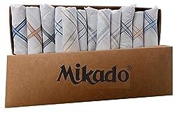 Mikado White Border Cotton Handkerchiefs - Pack Of 12 Pcs