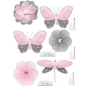 Mariposa Tatuajes de pared Pegatinas Gray (Gris) Mariposas rosadas de