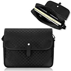 Duzign Carry-On Checkered Messenger Bag (Black) for Travel
