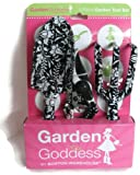 Garden Goddess Black and White Flower 3-Piece Garden Tool Set
