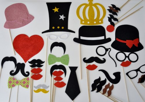 Mustache On A Stick 41 Pc Wedding Photo Booth Party Props Glasses Mustaches On A Stick Bow Tie And Neck Tie