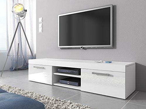 Mambo-Mobile TV con supporto, colore: bianco opaco/Bianco High gloss 160 cm