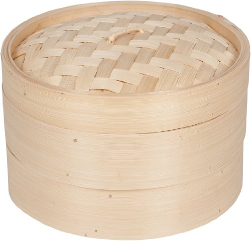 Trademark Innovations 3 Piece Bamboo Steamer, Standard, Tan
