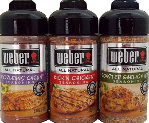 Weber All Natural Seasoning Blend Variety Pack: (1) Weber N'Orleans Cajun Seasoning Blend, (1) Weber Roasted Garlic & Herb Seasoning Blend, And (1) Weber Kick'N Chicken Seasoning Blend, 5.0 - 5.5 Oz. Ea.