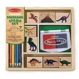 Dinosaur Stamp Set: 8 Wooden Stamps, 5 C...