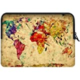 Hight Quality Vintage World Map Water Resistant Neoprene Laptop Sleeve 17 17.3 Inch Notebook Computer Bag Case Cover(Twin Sides)