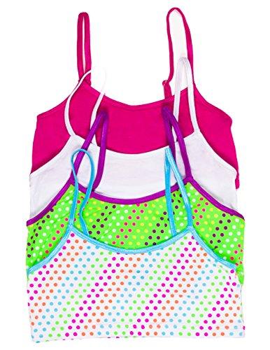 Caramel Cantina Girls 4 Pack Training Bras In Fun Patterns (Medium, Green/White Dots) front-534404