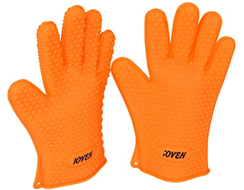 Ioven Silicone Heat Resistant BBQ Gloves--Perfect For Use As Heat Resistant Cooking Gloves, Silicone Grill Gloves, Oven Miit Or Pot Holder (Orange)