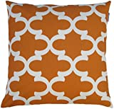 JinStyles Cotton Canvas Quatrefoil Accent Decorative Throw Pillow Cover (Orange, White, Square, 1 Cover for 18 x 18 Inserts)