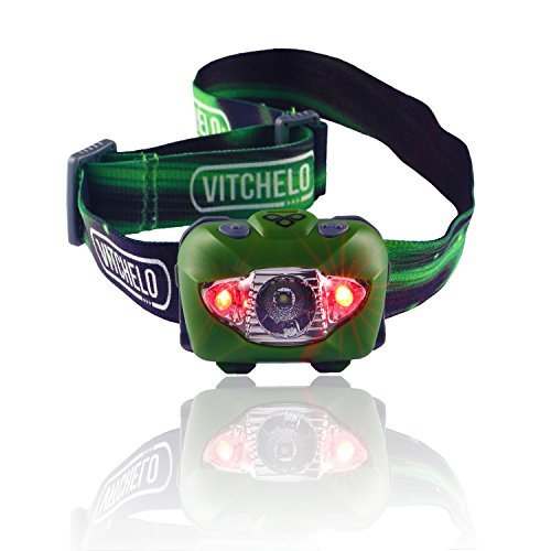 Vitchelo V800 Headlamp Flashlight with Red LED, Green (See More Product Details compare prices)