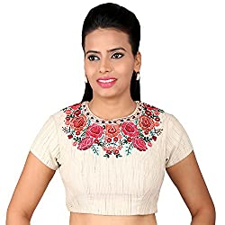 THE BLOUSE FACTORY Cotton Khadi Look Handloom Non Padded Blouse with Multicolour Embroidery (TBF_016_NP, Beige, 32)