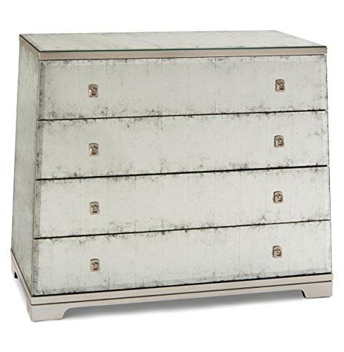 Mabelle Hollywood Regency Angled Silver Leaf Mirror Four Drawer Dresser front-151770