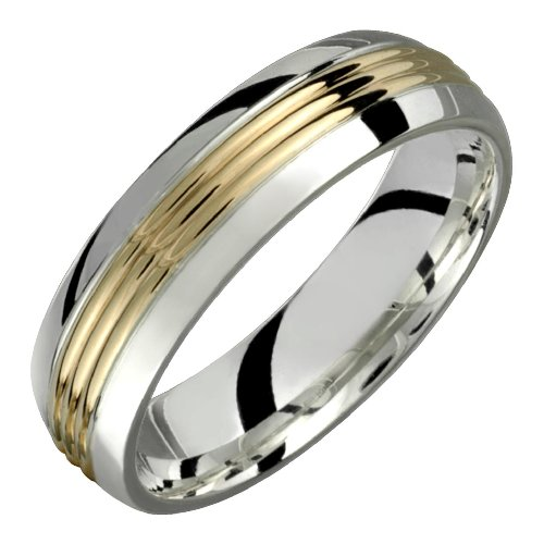 Beau &#8211; Elegant Two Tone Comfort Fit Wedding Band for Him &#038; Her! Custom Made! Choose your Size.