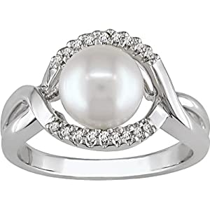 Silver .05ct TDW 7-8mm FW Button Pearl Ring, I2-I3, prong set diamonds