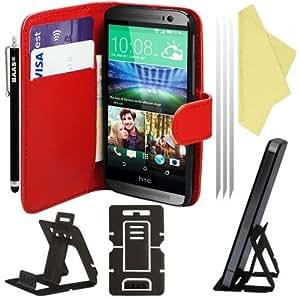 BAAS® The New HTC One M8 (2014) - Rouge Etui Housse Coque en Cuir Portefeuille + 3x Film de Protection d'Ecran + Stylet Pour Ecran Tactile + Support de Bureau