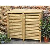 Bentley cache poubelle triple en bois jardin - Fabriquer cache poubelle bois ...